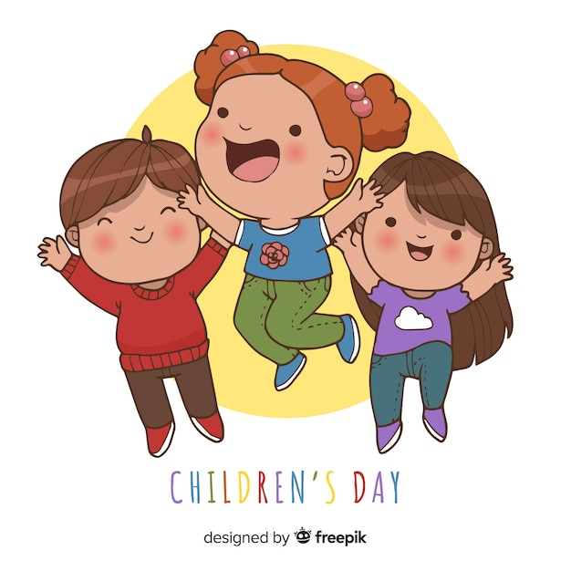 Childrens day jumping kids background Free Vector