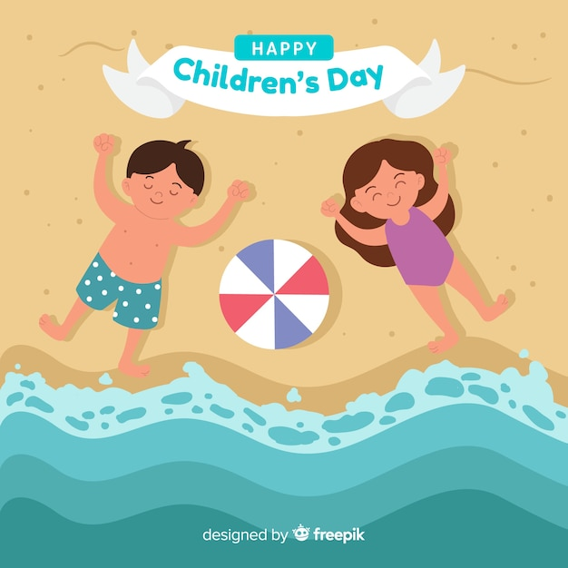 Childrens day kids shore background Free Vector