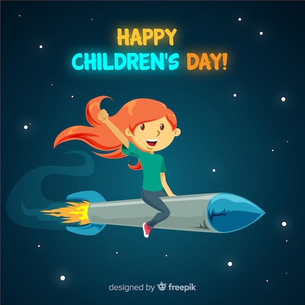 Childrens day rocket girl background Free Vector