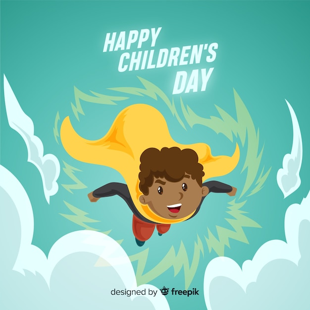 Childrens day superhero background Free Vector