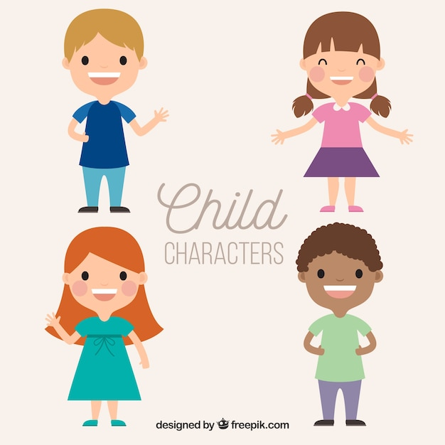 Childrens Day Vector With Four Happy Kids