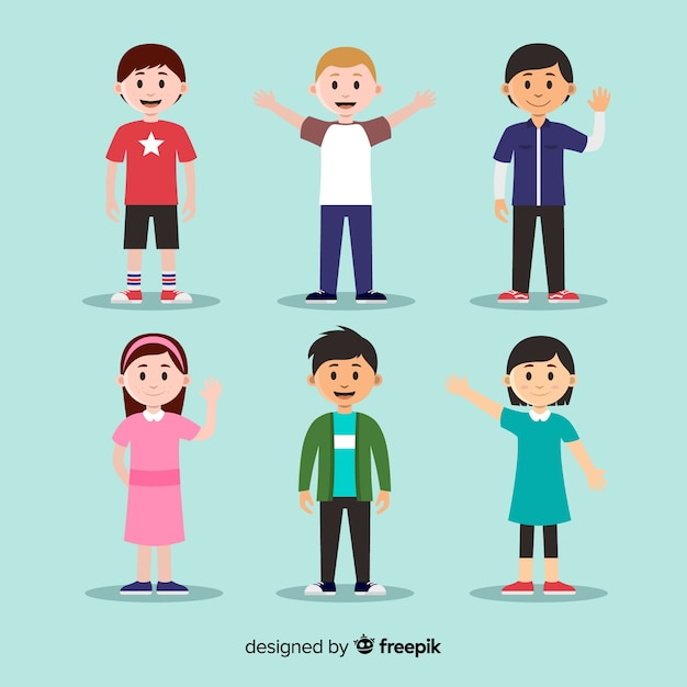 Childrens day waving characters collection Free Vector