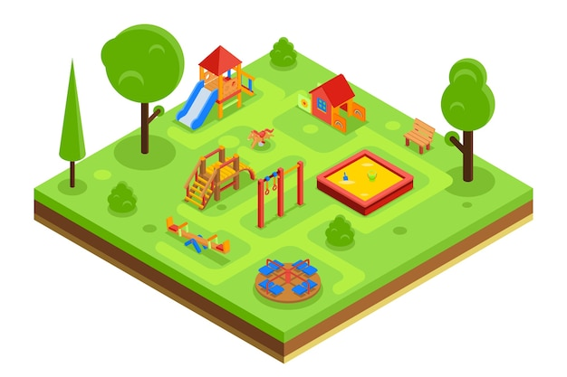 Childrens playground in isometric flat style. kindergarden with sandpit carousel bench. vector illustration Free Vector