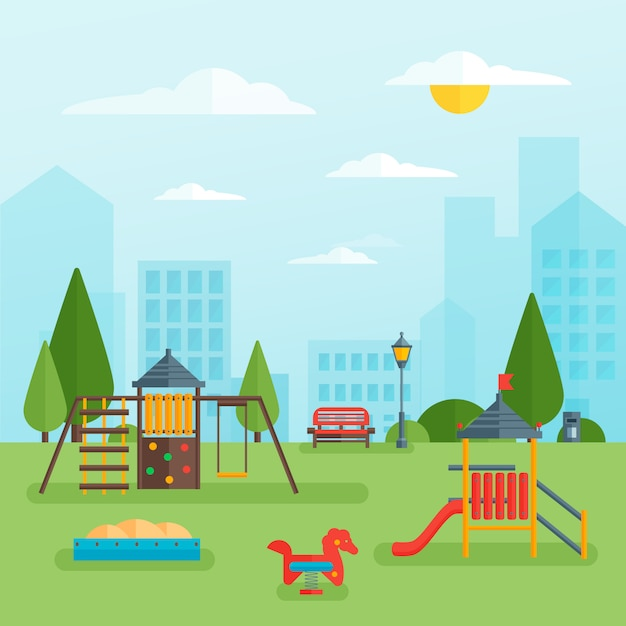 Childrens playground at park Free Vector