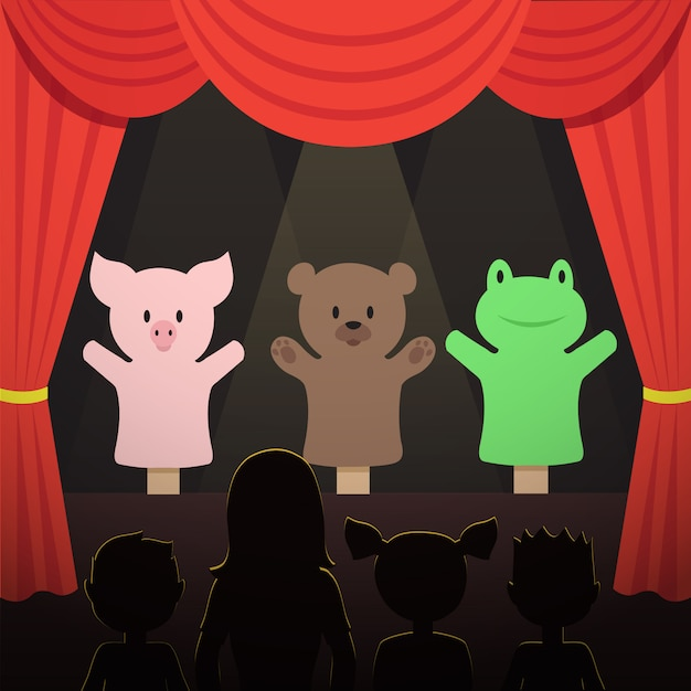 Childrens puppet theater performance with animals actors and kids audience  illustration Premium Vector