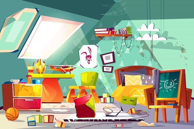 Childrens room on attic interior with terrible mess, stained floor, scattered toys, drawings Free Vector