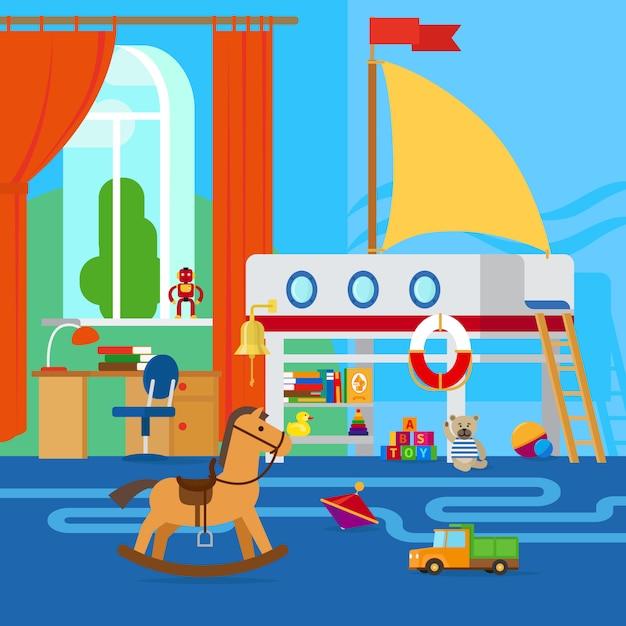 가구와 장난감이있는 어린이 방 인테리어 프리미엄 벡터