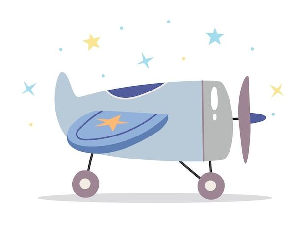 Детский игрушечный самолетик в скандинавском стиле ретро Premium векторы