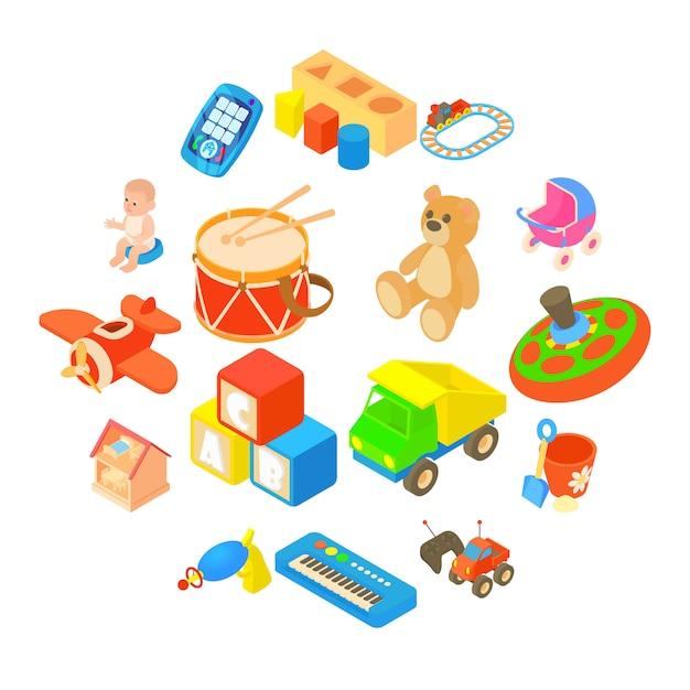 Childrens toys icons set, flat style Premium Vector