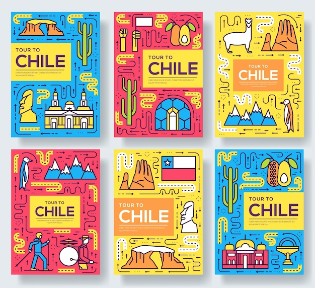 Chile  brochure cards thin line set. country travel template of flyear, book cover, banners. Premium Vector