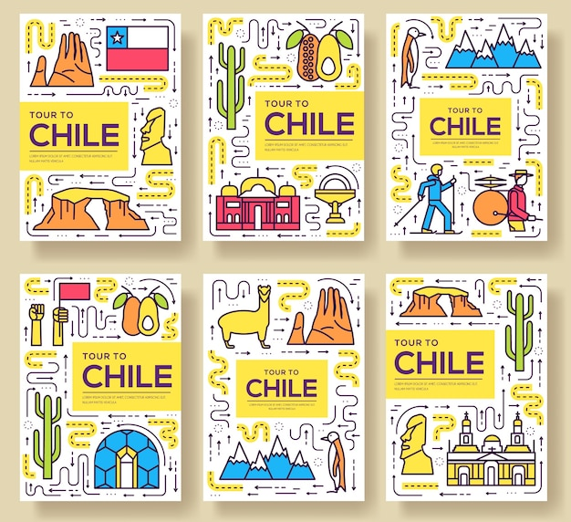 Chile cards thin line set illustration Premium Vector