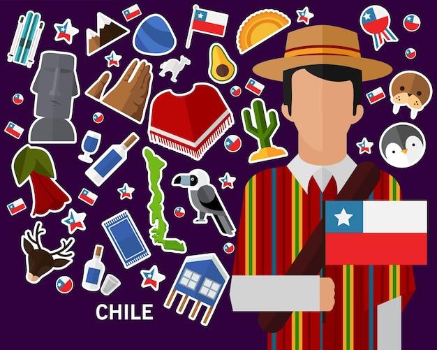 Chile concept background Premium Vector