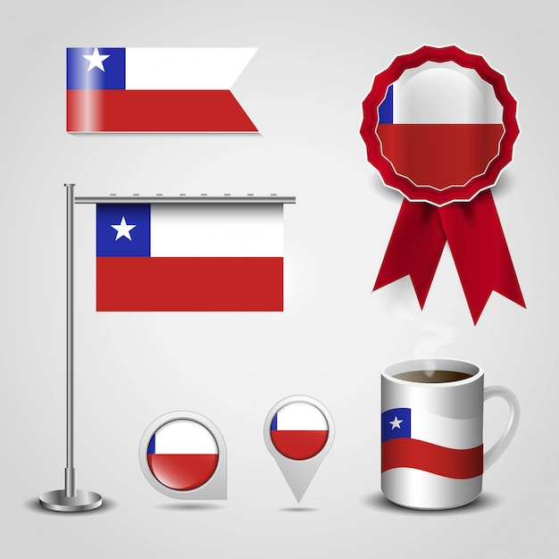 Chile country flag Premium Vector