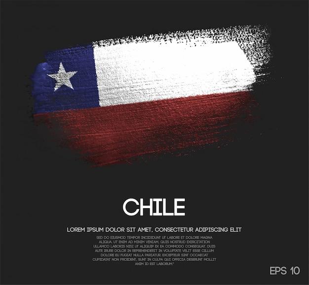Chile flag made of glitter sparkle brush paint Premium Vector