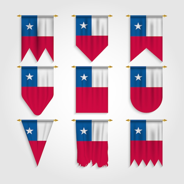 Chile flag in various shape Premium Vector