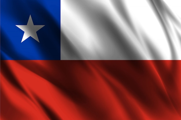 Chile flag waving abstract background Premium Vector