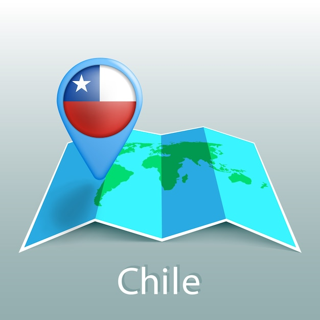 Chile flag world map in pin with name of country on gray background Premium Vector