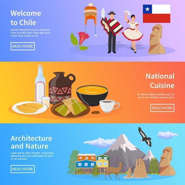 Chile flat horizontal banners Free Vector
