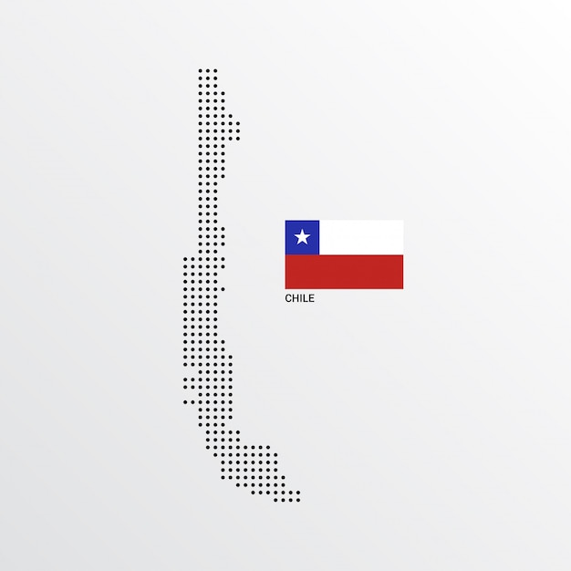 Chile map design with flag and light background vector Vector | Free on