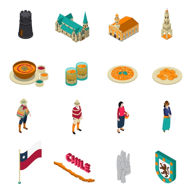 Chile touristic attractions isometric icons set Free Vector