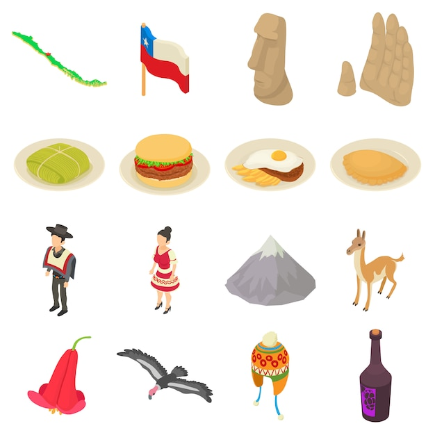 Chile travel icons set. isometric illustration of 16 chile travel vector icons for web Premium Vector