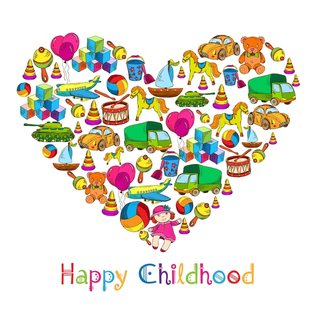 Chilhood toys background design Free Vector