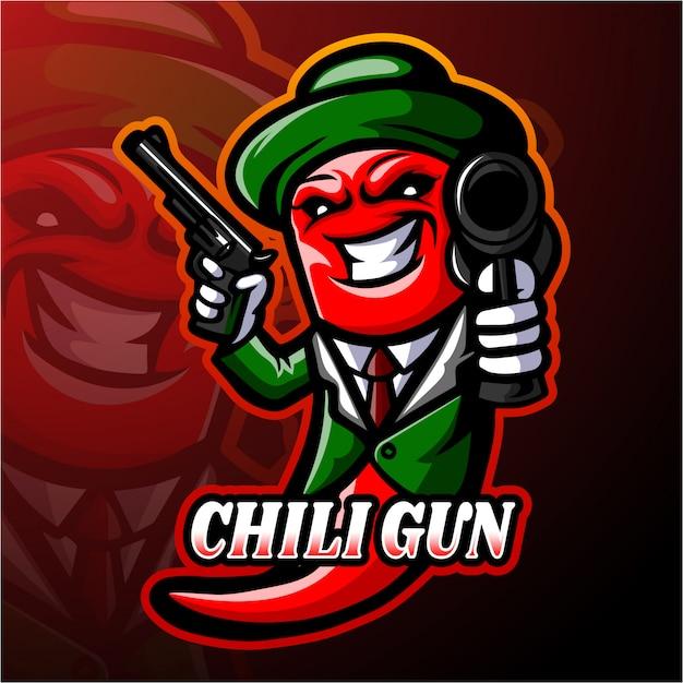 Chili esport логотип талисман дизайн Premium векторы