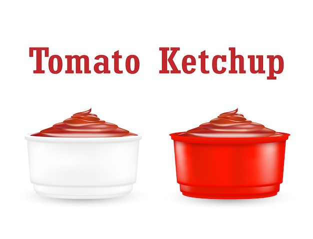 Chili ketchup sauce in a little plastic bowl Premium Vector