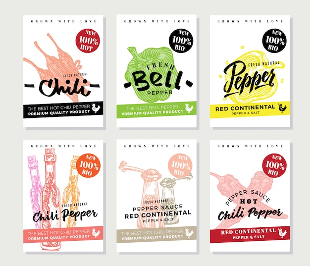 Chili pepper posters set Free Vector