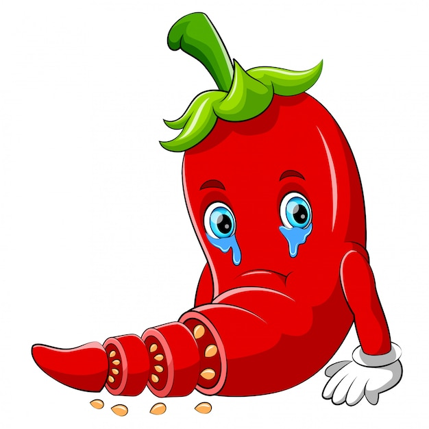 A chili sad cartoon character Premium Vector