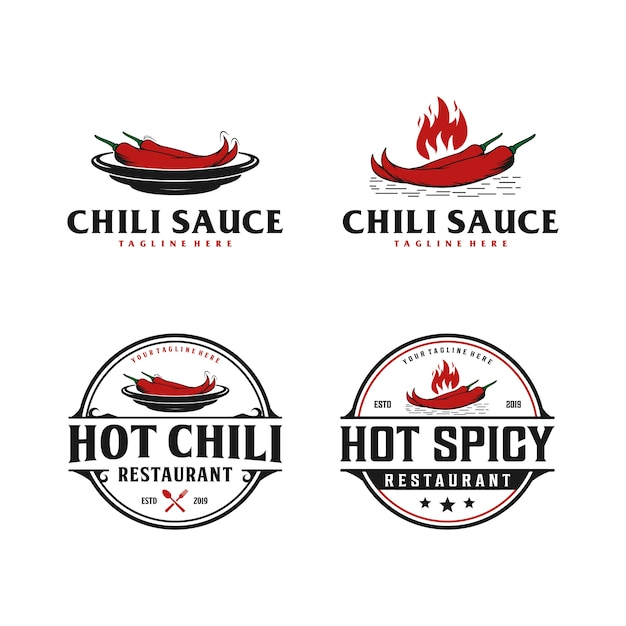 Chili Spicy Sauce Badge Vintage Logo Spicy Food