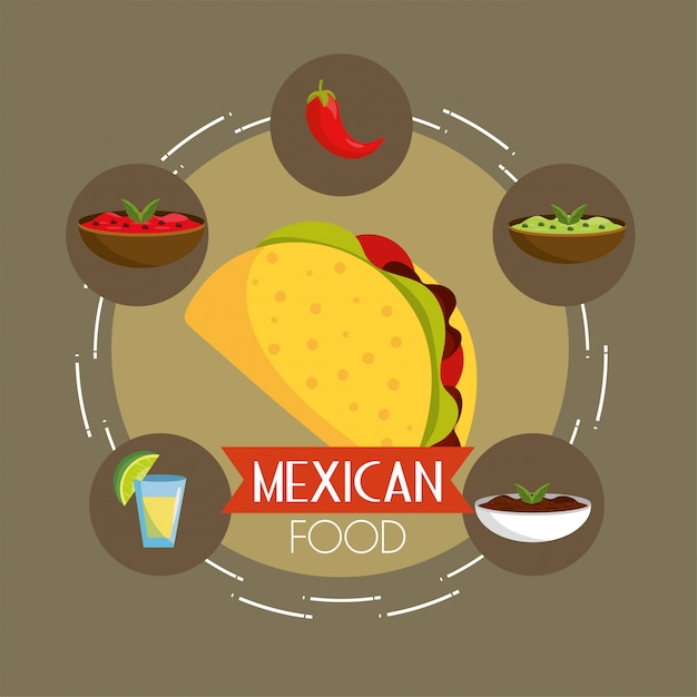 Chili with spicy sauces and tacos food Premium Vector