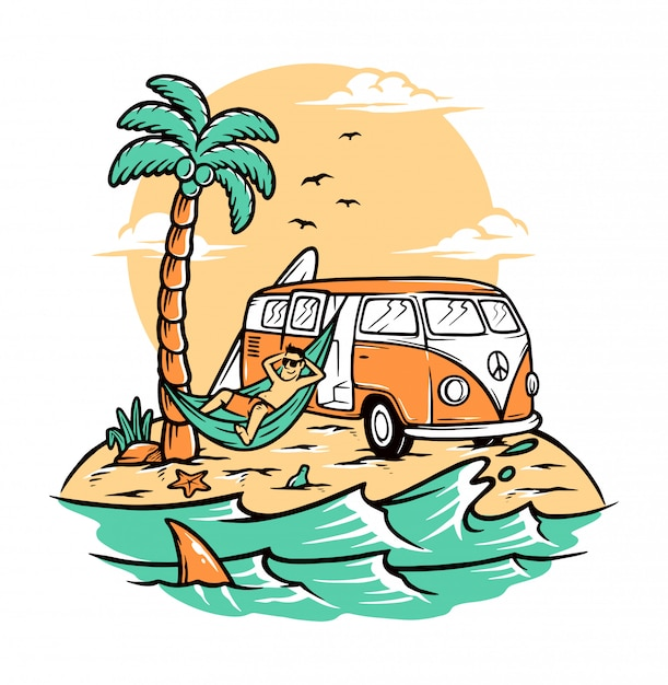 Chill on summer beach Premium Vector