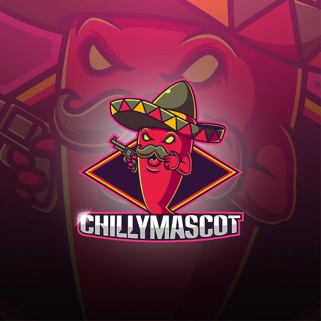 Chilli esport талисман логотип Premium векторы