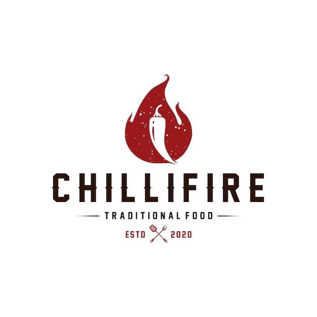 Chilli fire vintage logo template Premium Vector