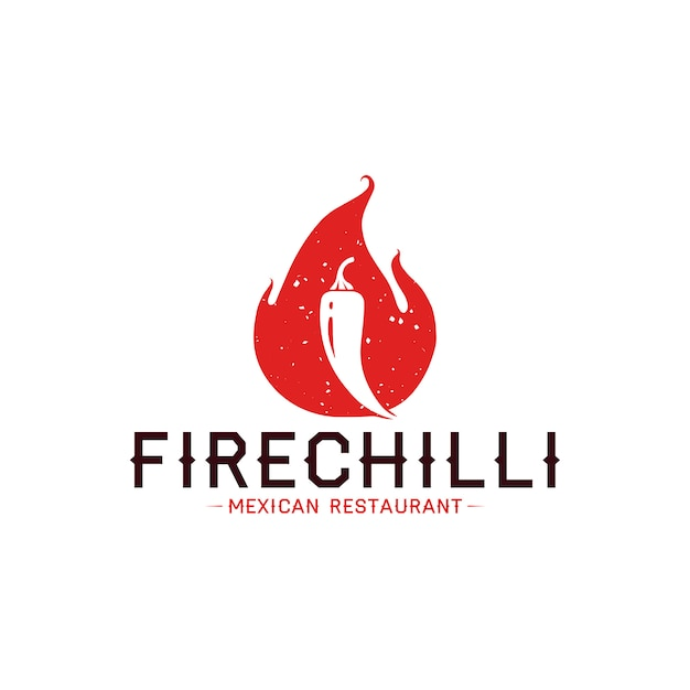 Chilli flame logo template Premium Vector