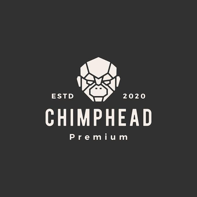 チンパンジーの頭ビンテージロゴアイコンイラスト Premiumベクター
