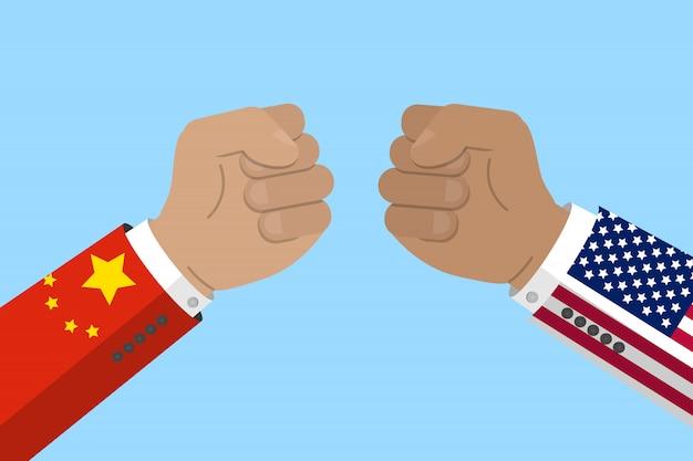 中国とアメリカは戦争、ビジネス、経済の対立を交わしています。中国とアメリカの国旗と拳。株式ベクトル図 Premiumベクター
