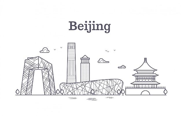 China beijing line panoramic skyline vector illustration Premium Vector