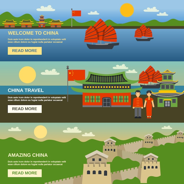 China culture 3 flat banners set Free Vector