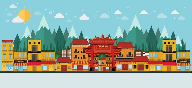 China famous tourist attractions Premium Vector