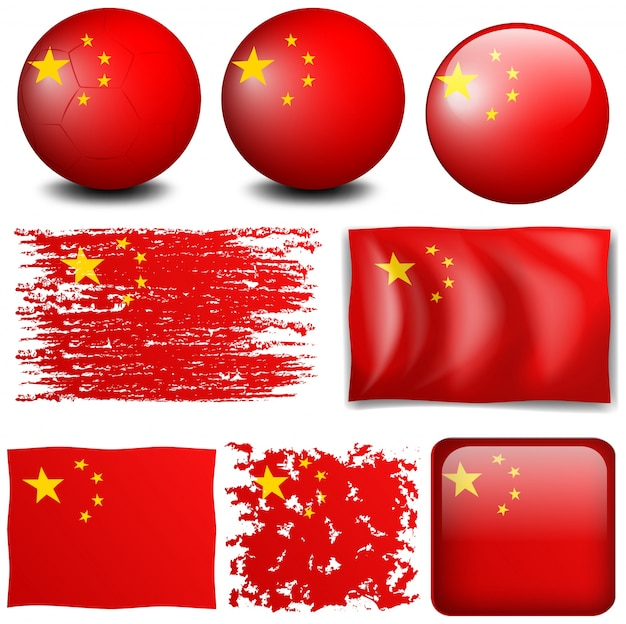 China Flag In Different Designs Illustration Free Vector