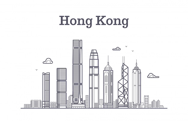 China hong kong city skyline. architecture landmarks and buildings vector line panorama Premium Vector