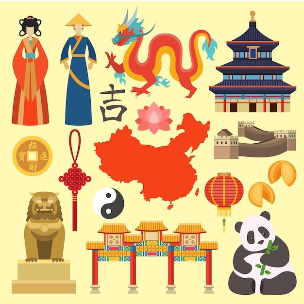 China icons vector. Premium Vector