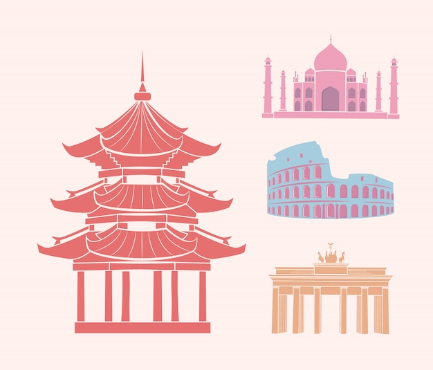 China and italy germany and india icons set vector Premium Vector