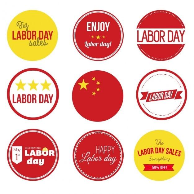 China Labor Day Vintage Set Vector Free Download