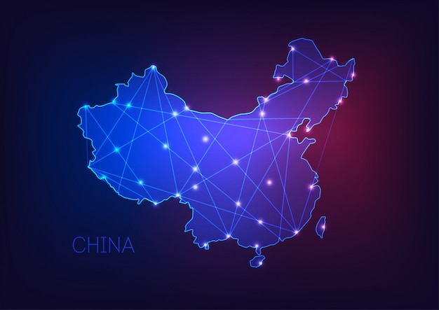 China map glowing silhouette outline made of stars lines dots triangles Premium Vector