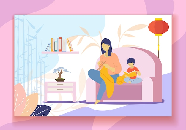 China mother knitting clothing, son reading book Premium Vector