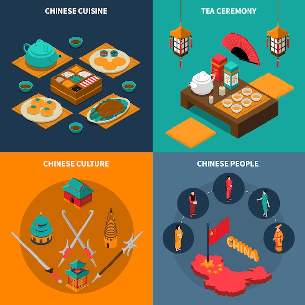 China touristic isometric 2x2 icons set Free Vector