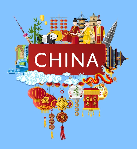 China travel background with famous asian symbols Premium Vector